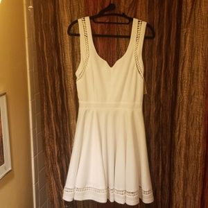 White cocktail dress with crochet detail